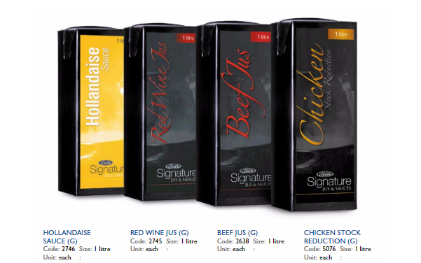 range of cooking stocks and glaces available at Arthur David